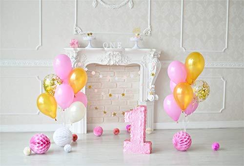 YongFoto 3x2m Fotografie 1e Eerste Verjaardag Foto Achtergrond Geel Roze Ballonnen Witte Open Haard Een Jaar Kamer Decoraties Achtergrond Party Banner Cake Dessert Tafel Foto Stuido Props