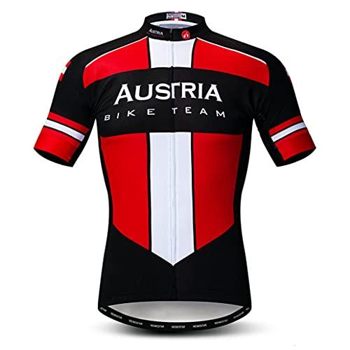 Hotlion Ciclismo Jersey hombres manga corta bike Camisas transpirable Bicicletas ropa Tops con 3 bolsillo trasero, Cf0138, M