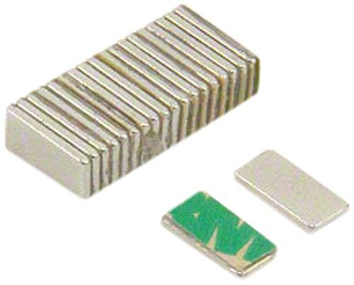 First4magnets F1051SA-20 Selbst klebende 10 x 5 x 1 mm dicken N42 Neodym-Magneten-0,6 kg ziehen (Süd) (Packung mit 20), silver, 25 x 10 x 3 cm, Stück
