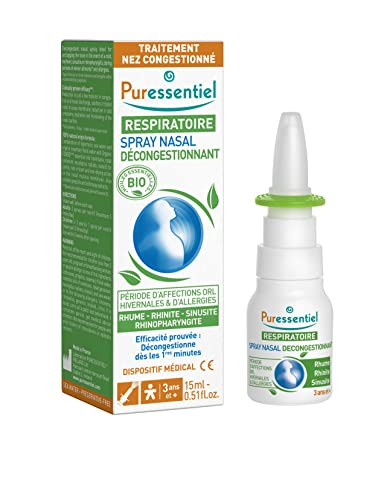 Puressentiel - Respiratorio - Spray Nasal Decongestionante con AE BIO - Ayuda a combatir los síntomas del resfriado, la sinusitis, la rinofaringitis y/o la rinitis alérgica - 15ml