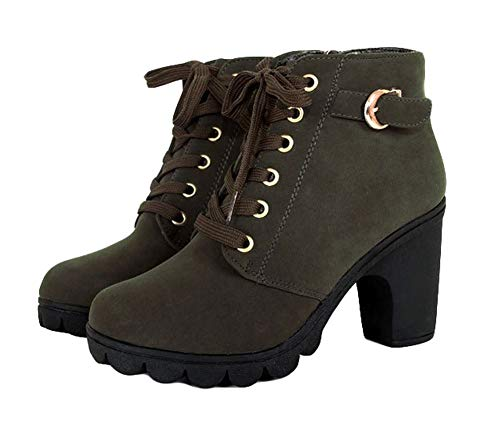 King Ma Womens Fashion Chunky High Heel Lace-up Thick Ankle Female Boots Martin Booties Green