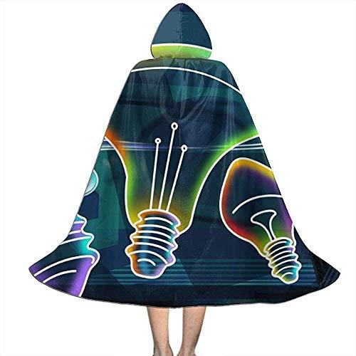 KDU Fashion Disfraz De Mago,Bombilla Fantisy Niños Capucha Decorativa con Capucha De Bruja con Sombrero para Disfraces De Mago Cosplay 138cm