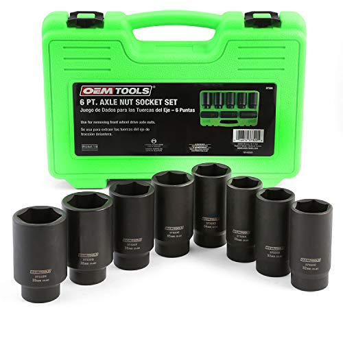 OEMTOOLS 37320 8 Piece 1/2 Inch Drive Axle Nut Socket Set, 6 Point Metric Set, 29mm, 30mm, 32mm, 34mm, 35mm, 36mm, 38mm, and 39mm Hex Socket Set with Case