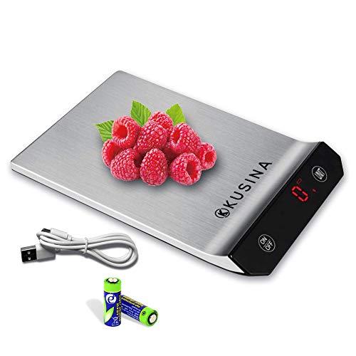 KUSINA Balance de cuisine numérique avec fonction tare 15 kg, balance électronique professionnelle à haute précision avec 5 unités de mesure en acier inoxydable et écran à LED.