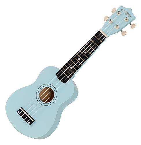 Classic Cantabile US-50 BL Sopranukulele - Ukulele mit 12 Bünden - leichtgängige Gitarrenmechanik - Weiße Nylon-Saiten - Blau
