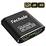 HDMI Splitter 1 in 2 Out - Techole 4K Aluminum Ver1.4 HDCP, Powered HDMI Splitter Supports 3D 4K@30HZ Full HD1080P for Roku Blu-Ray Player Apple TV HDTV Xbox PS4 PS3 Fire Stick - Cable Included