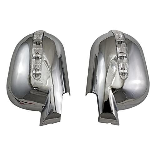 PREPP Tür Rückspiegeldeckel mit LED-Autozubehör Fit für Mercedes-Benz M-Klasse W163 ml 1997-2005 ABS Chrom plattiert (Color : Silver)