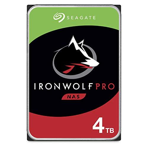 Seagate IronWolf Pro, NAS interne Festplatte 4 TB HDD, 3.5 Zoll, 7200 U/Min, CMR, 128 MB Cache, SATA 6 Gb/s, silber, inkl. 3 Jahre Rescue Service, Modellnr.: ST4000NE001