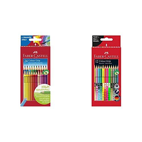 Faber-Castell 112424 - Farbstift Colour Grip Kartonetui 24er & 201569 Buntstift Sonderfarbset, Colour Grip, 12er Etui