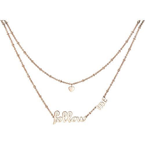 """Collana a due fili in acciaio 316L e pvd oro rosa con cuore e scritta """"Follow me""""."""
