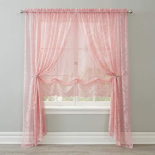 BrylaneHome Vintage Lace Rod-Pocket Panel Curtain Window Drape - 56I W 95I L, Blush