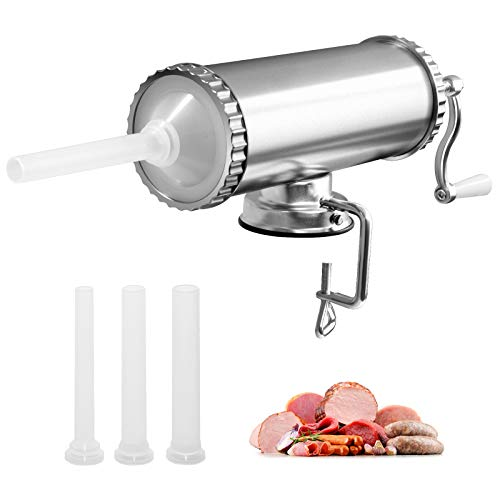 GOPLUS 3L Insaccatrice Manuale Insaccatrice per Salsicce Macchina per Salsiccia in Acciaio Inossidabile Salsicce Siringa con 3 Tubi di Riempimento