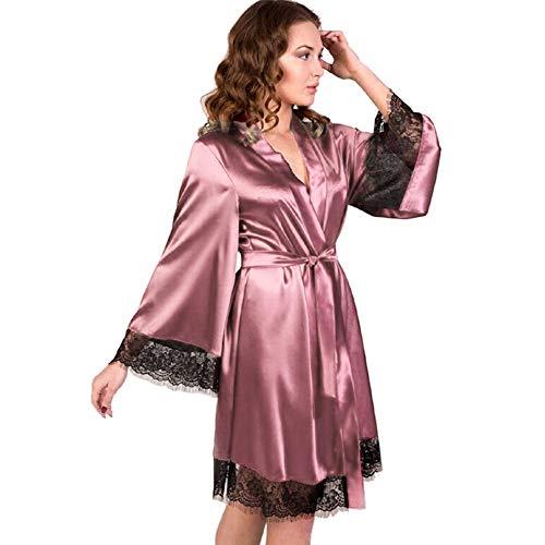 Dorical Damen Morgenmantel Maxi Lang Seide Satin Kimono Kleid Einfarbiger Bademantel Damen Lange Robe Reine Farbe Schlafmantel Nachthemd Nachtkleid Spitze Nachtwäsche mit Gürtel(Medium,Rosa)