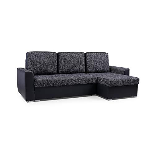 Canapé d'angle Noir Tissu Design Confort