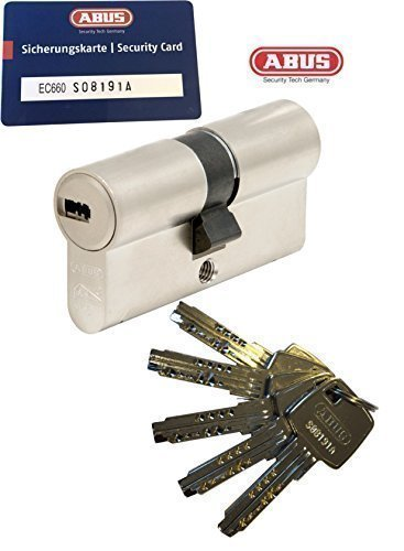 ABUS EC660 Profil-Doppelzylinder Länge (a/b) 45/45mm (c=90mm) mit 5 Schlüssel, mit Sicherungskarte
