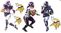 "Minnesota Vikings Mini FATHEAD Graphics Team Set Official NFL Vinyl Wall Graphics - ADAM THIELEN, Stefon Diggs, Dalvin Cook - Each Player 7"" INCHES Tall"