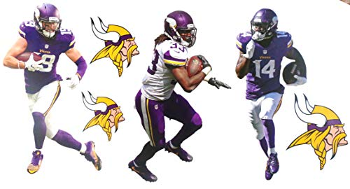 Minnesota Vikings Mini FATHEAD Graphics Team Set Official NFL Vinyl Wall Graphics - ADAM THIELEN, Stefon Diggs, Dalvin Cook - Each Player 7' INCHES Tall