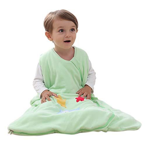 Schlafsack baby Winter Baumwolle Junge Mädchen Neugeborener - 2.5TOG kinder Schlafanzug. Grün - Eule und Stern. (130CM/3-6Jahre)