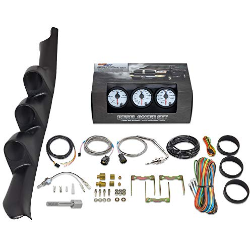 GlowShift Diesel Gauge Package for 1995-1998 Chevrolet Chevy C/K 2500 3500 Truck - White 7 Color 60 PSI Boost, 2400 F Pyrometer EGT & Transmission Temperature Gauges - Black Triple Pillar Pod