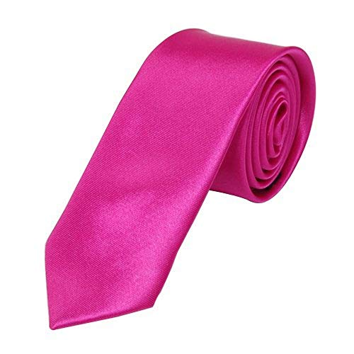 OM3 Pinke schmale Krawatte Herren Smoking Slim Uni Tie Hochzeit Business Schlips dünn Handmade (PINK)