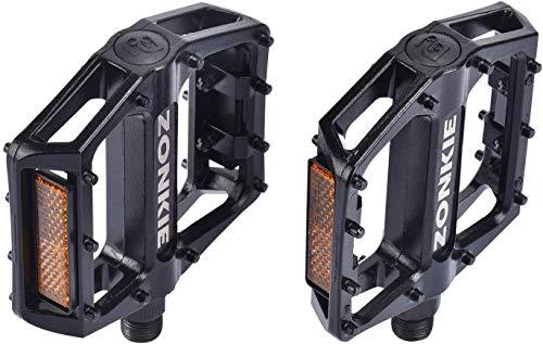 zonkie Fahrradpedale, Plattform/MTB/Flat Pedale mit hochwertigen und Top Grip, E Bike Fahrradpedale aus Alu (1/2