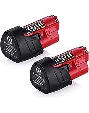 Powerextra 2 stuks reserveaccu 12 V 3000 mAh Li-ion accu compatibel met Milwaukee M12 M12B 48-11-2410 48-11-2420 48-11-2411 48-11-2401 48-11-2402