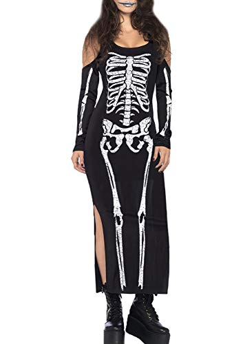 For G and PL Halloween Womens Bone Cold Shoulder Skull Costume Party Bodycon Maxi Dress Skeleton Black XL