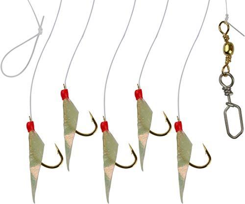 Storfisk fishing & more Heringspaternoster Heringsvorfach Echte Fischhaut 5 Seitenarme Hakengröße 12
