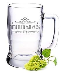 Leonardo Bierkrug mit Gravur - Personalisiert mit Name - Geschenk für Männer ideal als Vatertagsgeschenk 0,5l Bierglas Krug als Geburtstagsgeschenk für Männer - Beer Mug