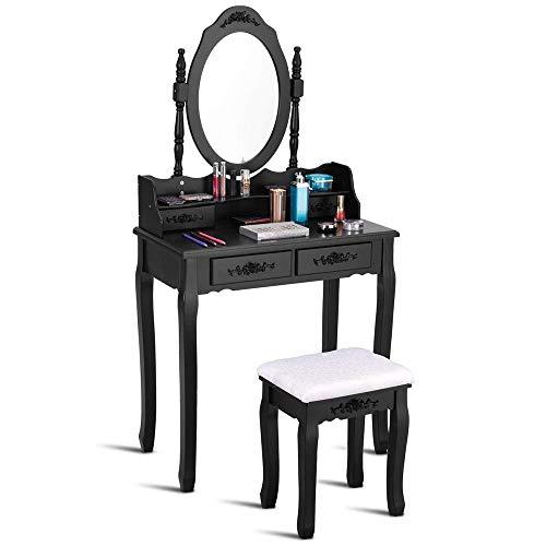 Zwarte houten dressoirtafel, kaptafel, set met spiegel en kruk,4 laden, eenvoudig te monteren voor slaapkamer, kleedkamer
