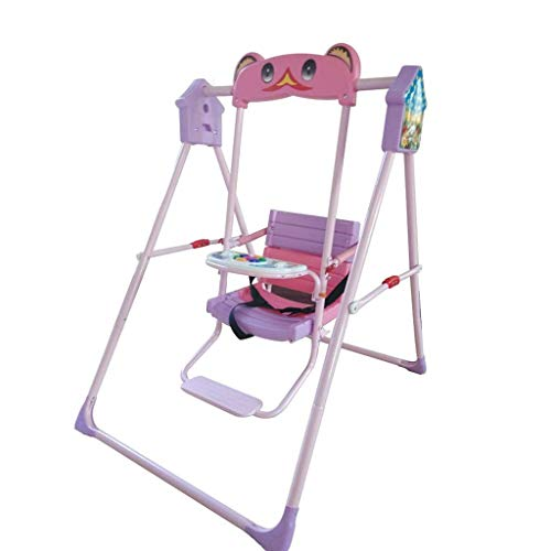 NMDD Columpio para Exteriores Columpio para niños Interior y Exterior Baby RocChair Silla Colgante Columpio para niños en casa Juguete para Asiento Infantil Plegable multifunción (Color: Pink)