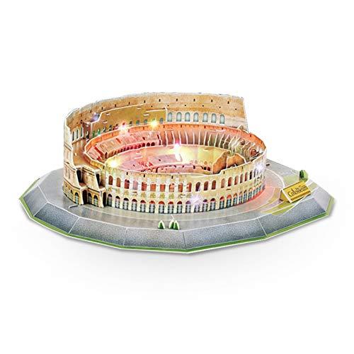JEANMISS Puzzle 3D Colosseo 185 Pezzi,Giochi Puzzle 3D Dimensionale Famiglie con Luci Colorate LED,Kit Costruzione Modello Architettura Carta Giocattoli Educativi Regalo DIY per Adulti e Bambini