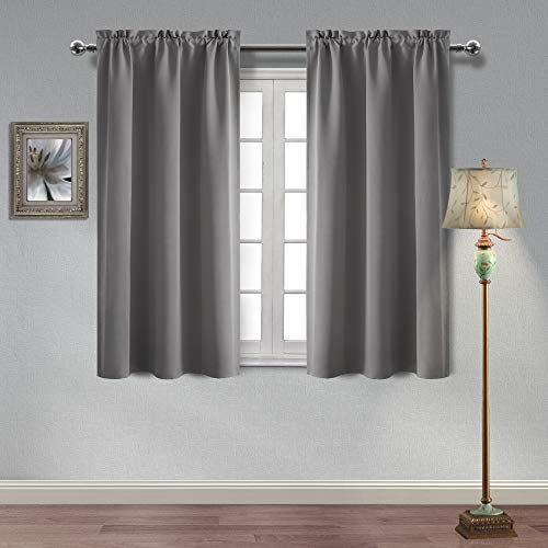 Hiasan Thermal Insulated Blackout Curtains Sun Blocking and Energy Saving Room Darkening Window Curtains for Living Room and Bedroom, 38 x 54 Inches, Grey, 2 Curtain Panels