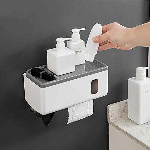 Montado En La Pared Caja De Pañuelos Para El Baño Papel Higiénico Toallas Dispensador Teléfonos Estantes Estuche Para Almohadilla Sanitaria Organización De Almacenamiento De Cocina Gris