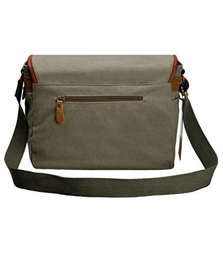 ZLYC Unisex RetroEchtleder & Segeltuch Canvas Kameratasche Messenger Bag Büchertasche für DSLR-Kamera & Linse(Grau),M