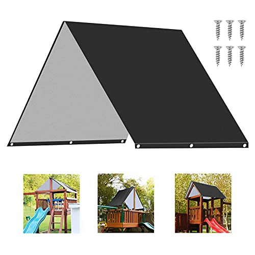 """TRYAH Swing Set Replacement Tarp 52"""" x 90"""" Kids Playground Roof Canopy Outdoor Replacement Snowproof Waterproof and Sunscreen Shade Screens Anti-UV, Black"""