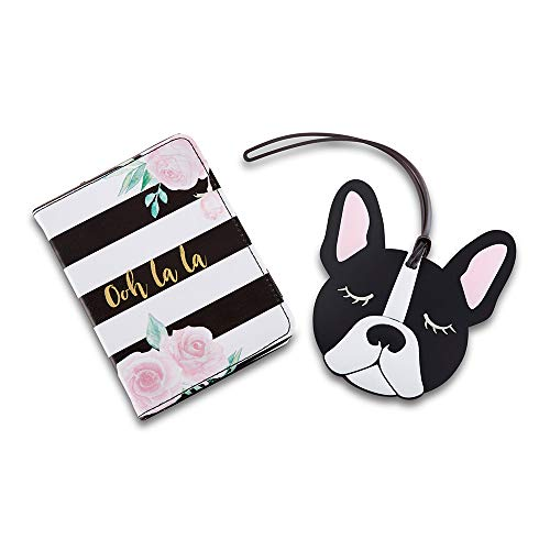 Kate Aspen 18180NA Ooh La Getaway Gift, Passport Cover, Luggage Tag Travel Set, One Size, gold, black, white, pink, green