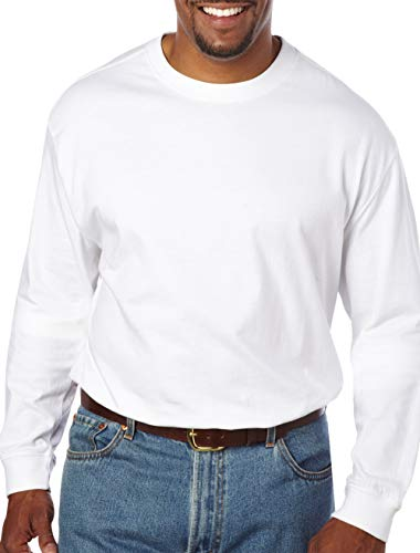 Harbor Bay by DXL Big and Tall Wicking No-Pocket Long-Sleeve Tee, White 6XL