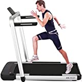 ANCHEER 2 in 1 Folding Treadmill,2.25HP APP Control Under Desk Treadmills with Large LCD Touch Monitor and Watch Remote Controller, Indoor Walking Jogging Running Exercise Machine for Home GymOffice