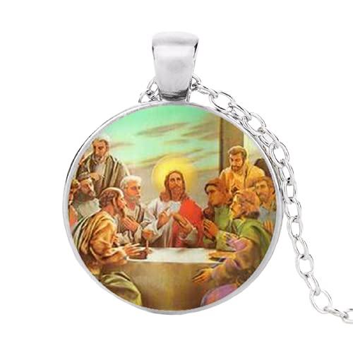 Collar de la Virgen María Madre del Bebé Jesucristo Colgante Cristiano Católico Religioso Azulejo Collares Colgantes