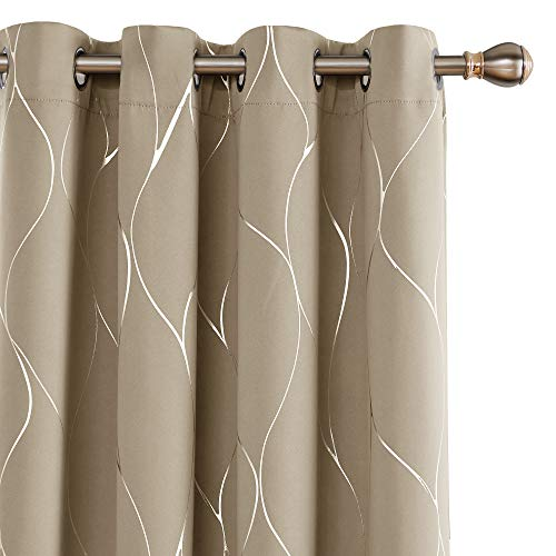 Deconovo Extra Long Grommet Blackout Curtains Silver Foil Wave Printed Room Darkening Curtain Thermal Insulated Energy Saving Drapes for Sliding Glass Door 52W x 108L Inches Khaki 2 Panels