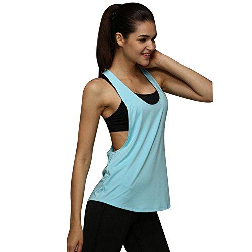 TUDUZ Damen Funktions Sport Tanktop Gym Ringerrücken Miedertop Yoga Fittnesstraining Tops (S, Hellblau)