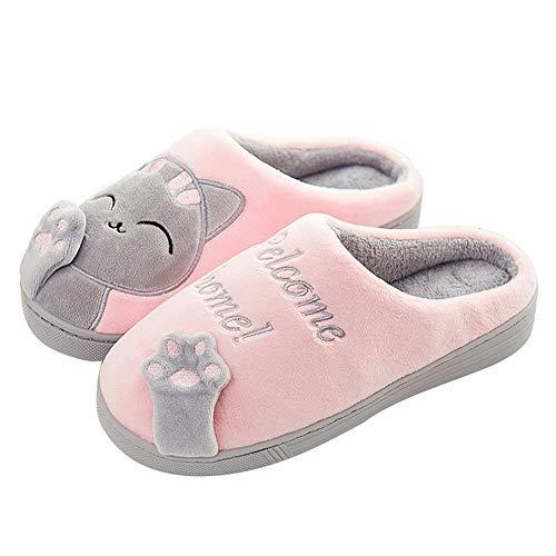 Invierno Cálido Zapatillas de Estar por casa Interior para Mujere Hombre patrón Gatos 34/35 EU (Tamaño de Etiqueta 36/37) Gato-Rosa