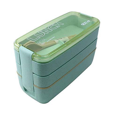 WSNBB 900ml 3 Niveles de Bento Box Lunch Box Paja de Trigo Materiales recipientes para Alimentos ecológicos Lunchbox 2020 nuevos Platos de microondas,3c Verde