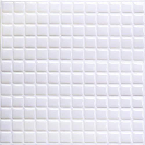 HyFanStr - Pegatinas de mosaico 3D, autoadhesivas para azulejos de cocina y baño, 24 x 23 cm (paquete de 4), Blanco, 9.29