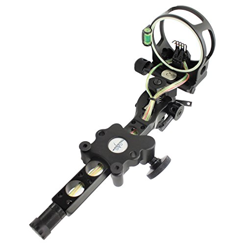 Southland Archery Supply SAS CNC Aluminum 5 Pin .019' Tool-Less Bow Sight with Micro Adjust Detachable Bracket LED Sight Light (Black)