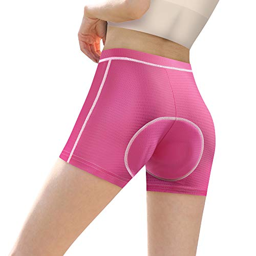 CYCWEAR Damen Fahrradunterwäsche Shorts 3D gepolstert Fahrrad Reiten Shorts für Outdoor Sport Indoor Heimtrainer -  Pink -  Large
