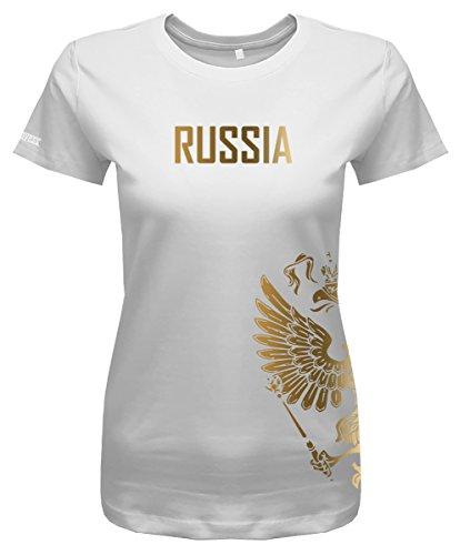 Jayess WM 2018 - Russland - Russia - Adler Gold - Fanshirt - Damen T-Shirt in Weiss by Gr. M