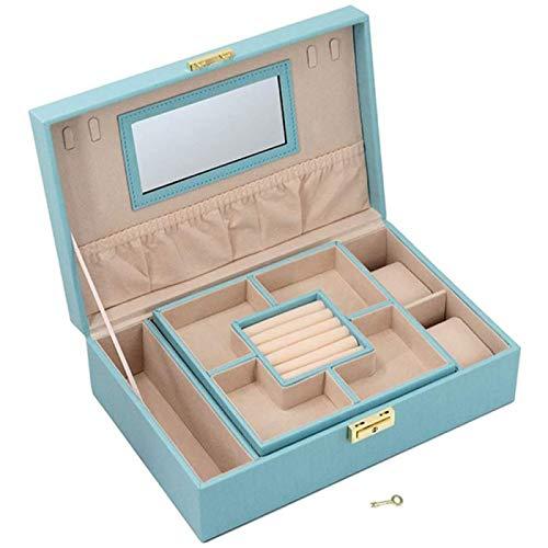 ZHANG Caja de Almacenamiento Multifuncional de La Joyería del Cuero de La PU del Bowknot, Caja de Almacenamiento de Joyas de Gran Capacidad, Soporte de Exhibición de La Joyería,Blue