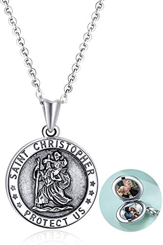 Saint Christopher Locket Necklace That Holds Pictures for Women Sterling Silver Saint Christopher Protect Us Keepsake Jewelry Gifts for Girls Wife Mom (C-saint christopher locket necklace)